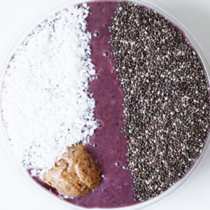 acai superfood with almond butter smoothie bowl